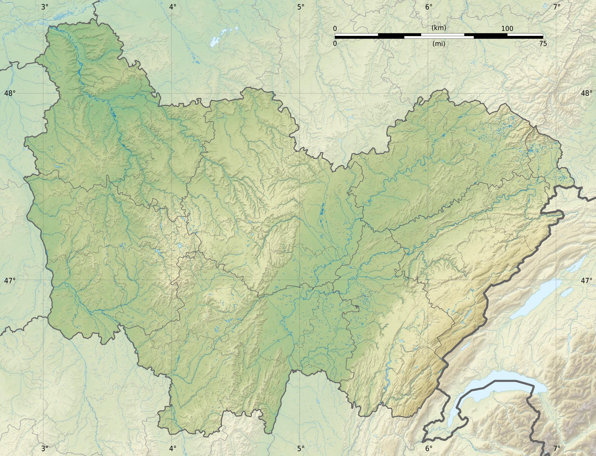 Carte Bourgogne Nord.Fichier Bourgogne Franche Comte Region Relief Location Map