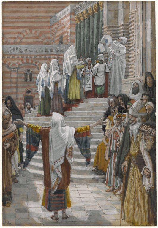 HARIHO ABAZOHISHURIRWA KO BAZOBONA UKUGARUKA KWA YESU Brooklyn_Museum_-_The_Presentation_of_Jesus_in_the_Temple_(La_pr%C3%A9sentation_de_J%C3%A9sus_au_Temple)_-_James_Tissot_-_overall
