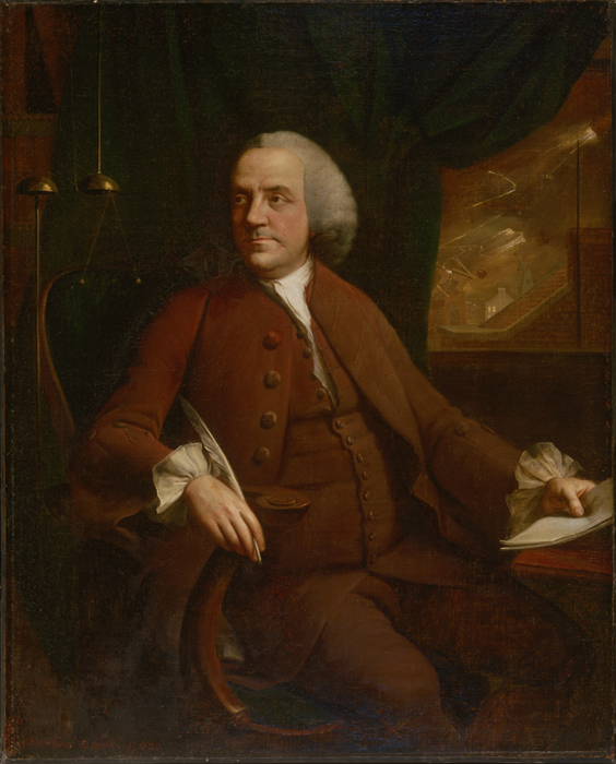 Portrait of Benjamin Franklin, commissioned by Philip Ludwell III in 1762