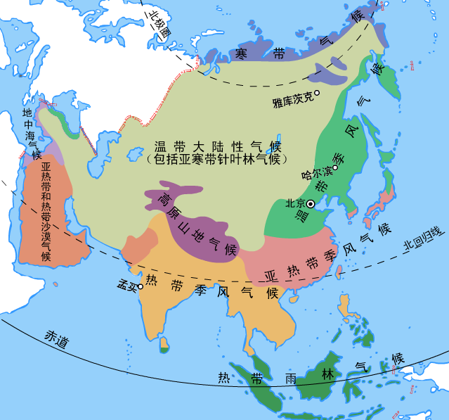 Climate Zone Map Of Asia.File Climate Maps Of Asia Png Wikimedia Commons