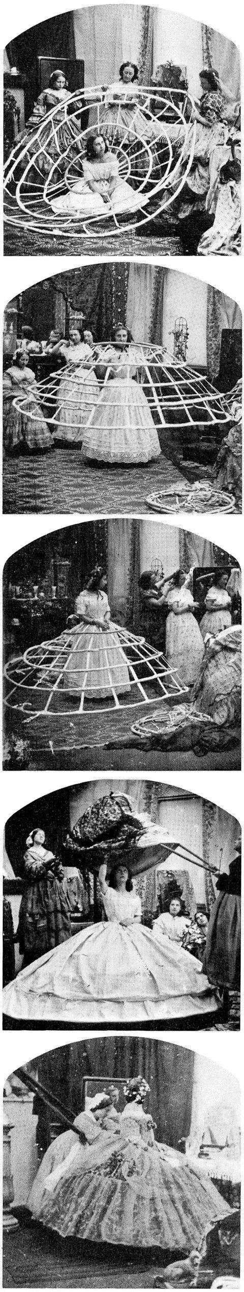 Woman putting on a crinoline