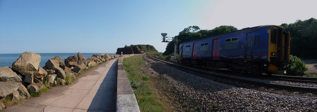 File:Dawlish Warren , Coastal Walk, Railway and First Great Western Train - geograph.org.uk - 1345925.jpg