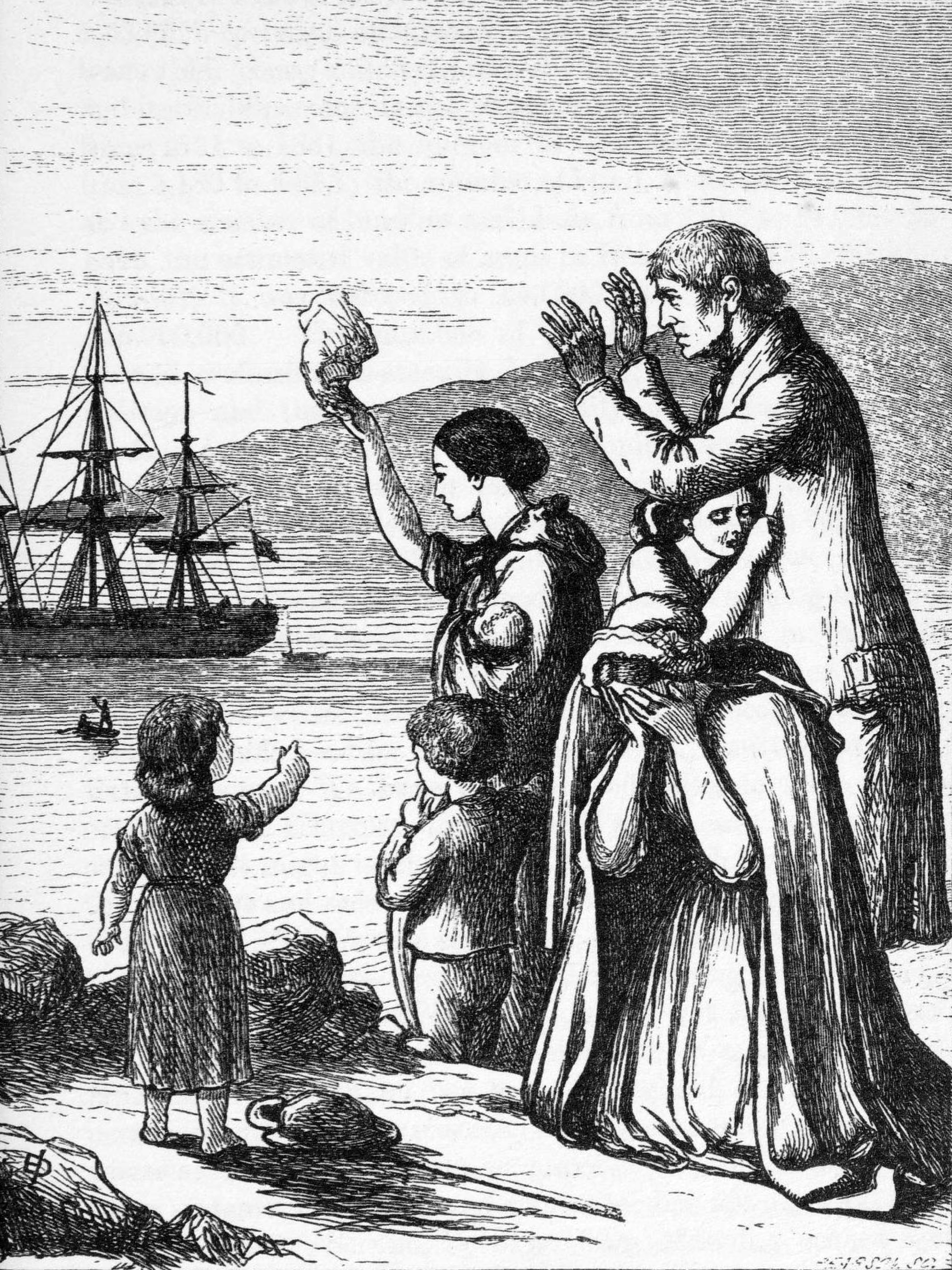 English: engraving of 'Emigrants leaving Ireland'