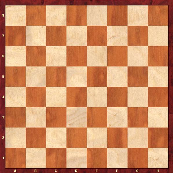 Schachbrett aus hellem und dunklem Holz statt schwarzer und weißer Felder.