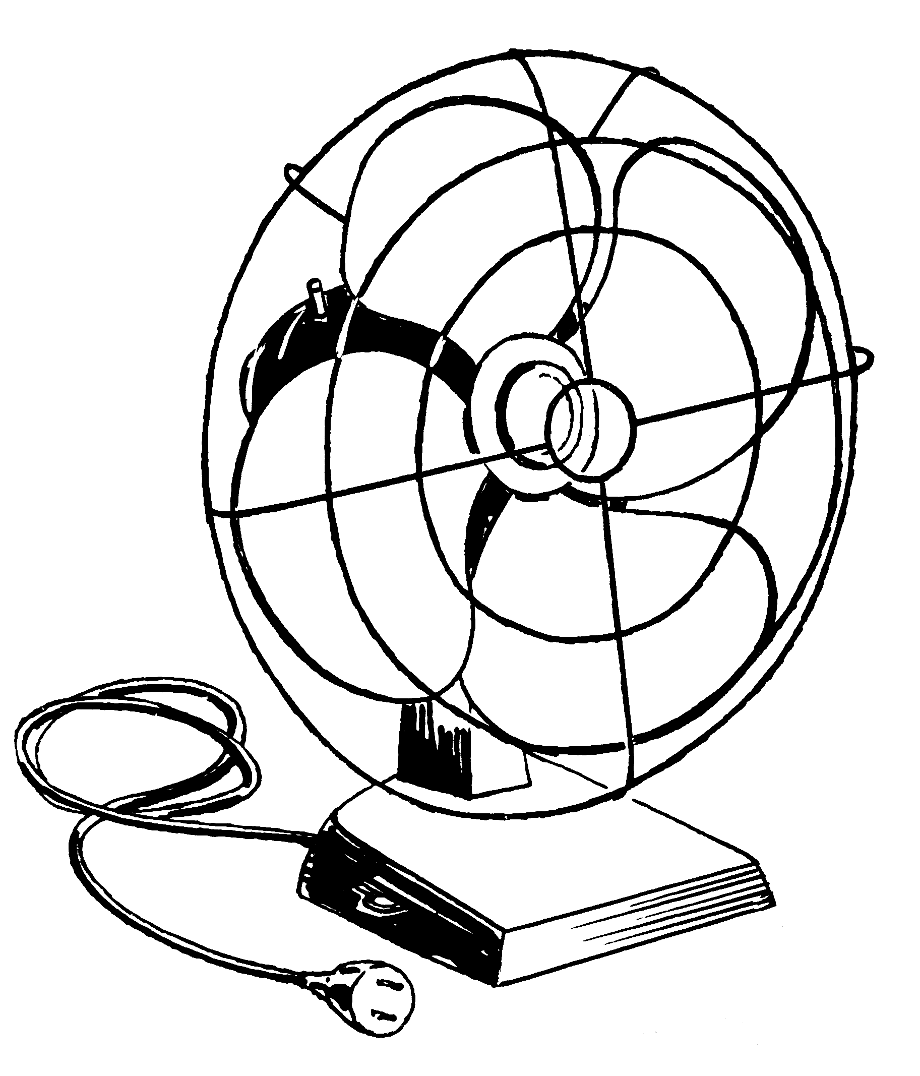 A Sketch Of A Electric Fan : Electric fan drawing sketch coloring page