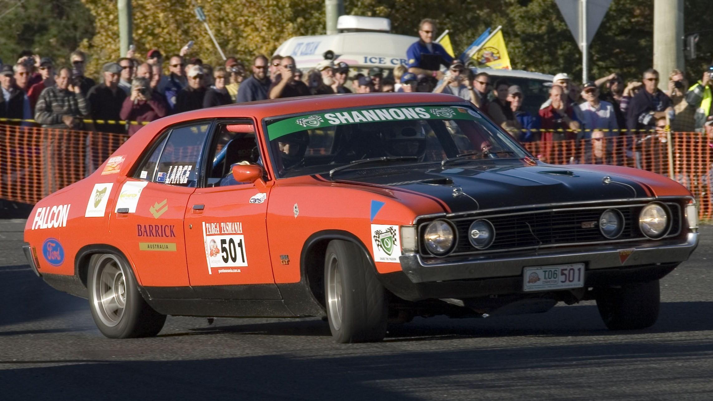 1972 1973 Ford XA Falcon GT (replica) racing in Targa Tasmania