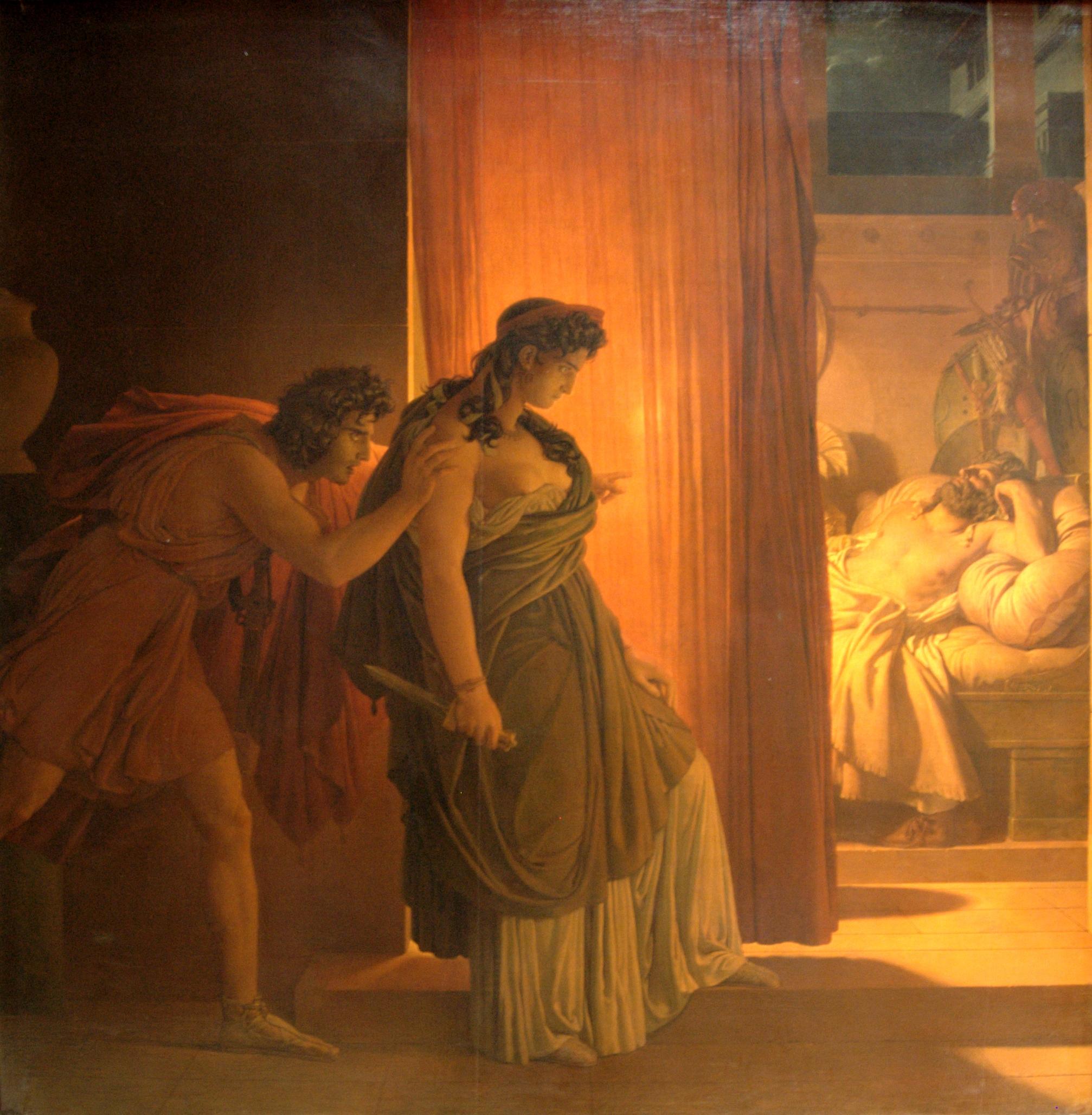 Baron Pierre-Narcisse Guérin (1774–1833): Klytaimnestra nøler før hun skal drepe den sovende kong Agamemnon; Aigistos skynder på henne.