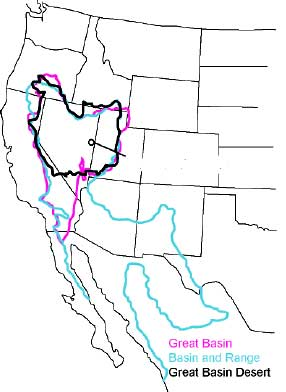 The hydrographic Great Basin (magenta outline), distinguished from the Great Basin Desert (black), and the Basin and Range Geological Province (teal). GB-Definition-Map.jpg