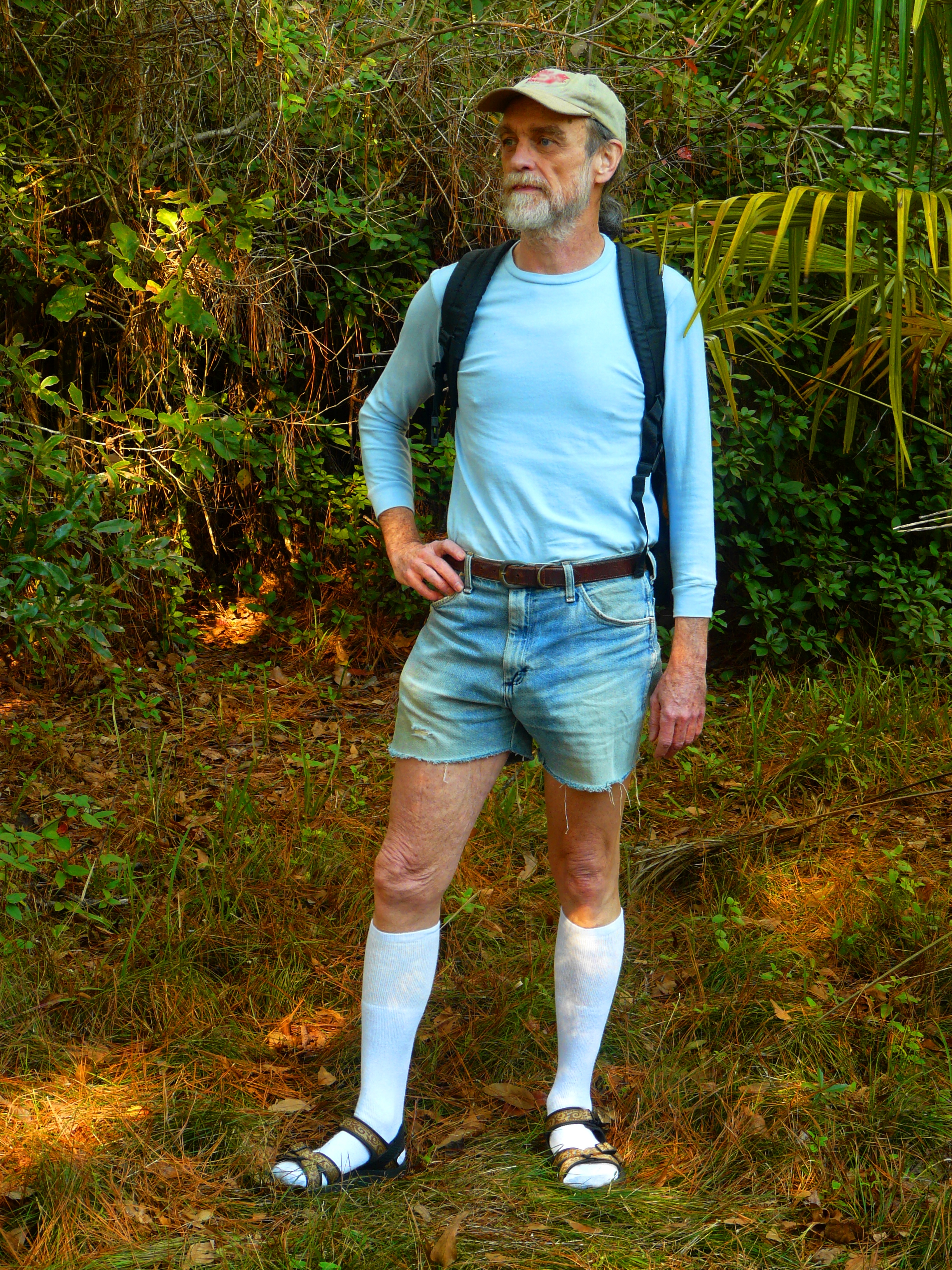 Hiking in Knee Socks Sandals and Cut offs - Thonged flip flops.