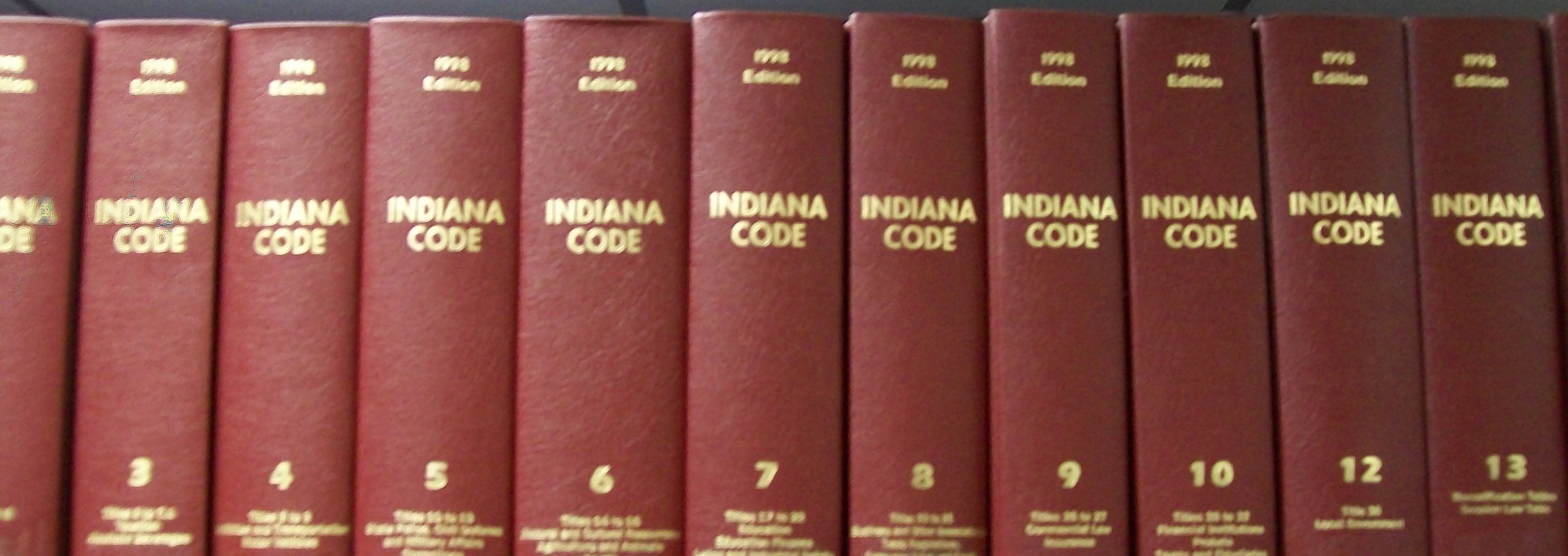 English: 1998 copy of the Indiana Code, the cr...