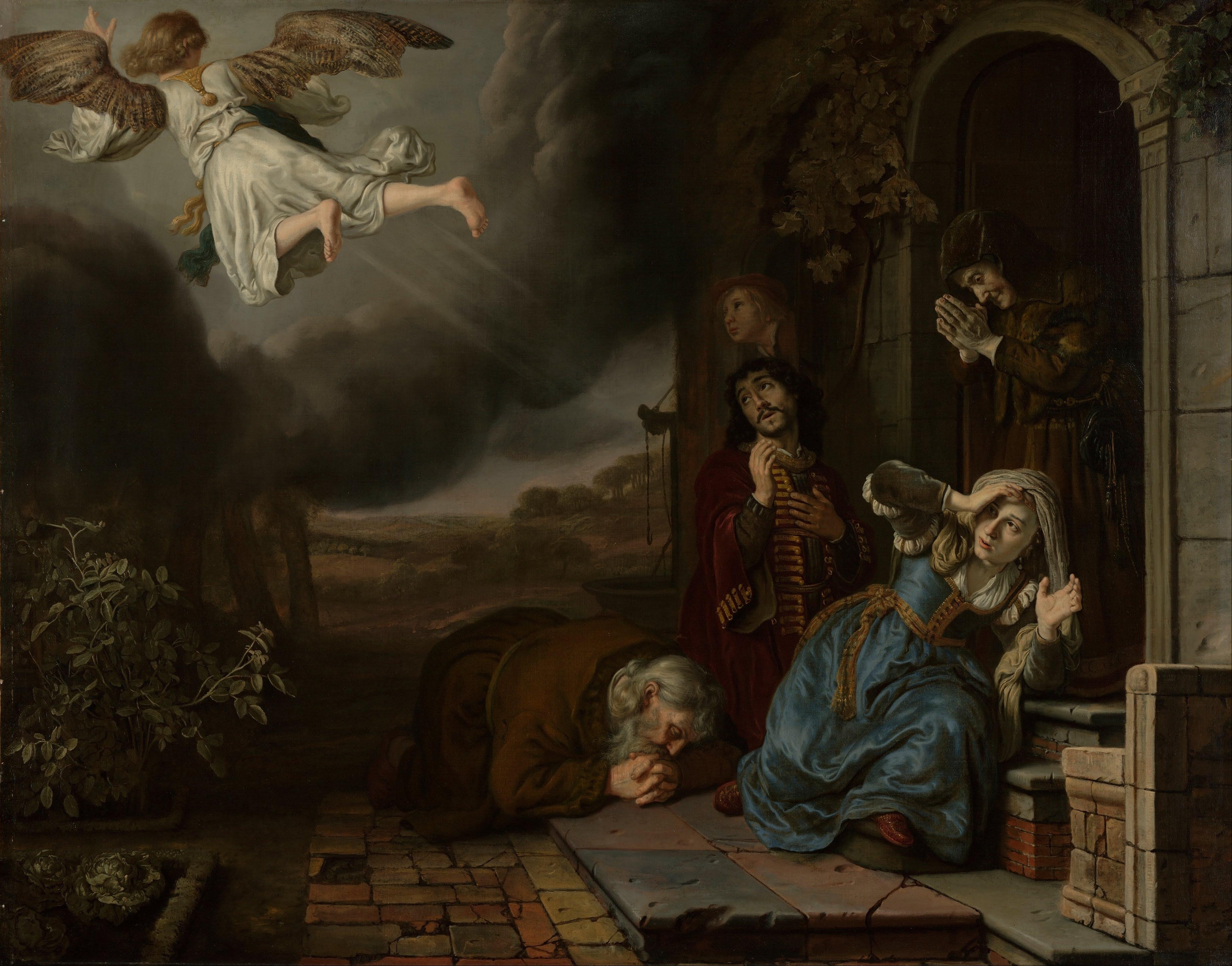 Jan Victors, L'ange Raphaël quittant la famille de Tobie