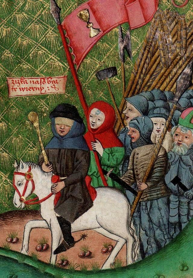 Der blinde Žižka führt die Hussiten (Jenaer Kodex).