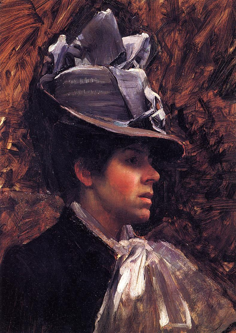 artwork, head and shoulders of woman in hat