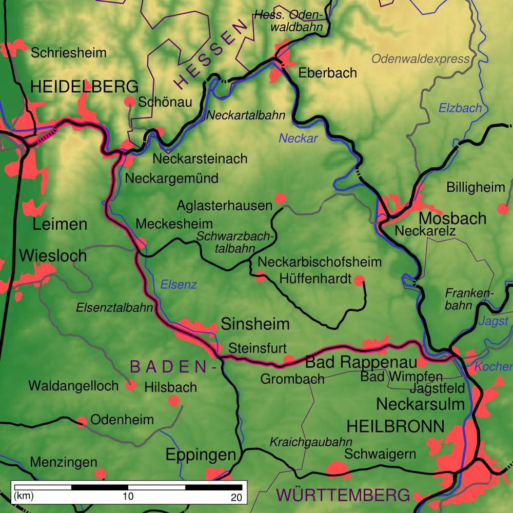 Karte Elsenztalbahn