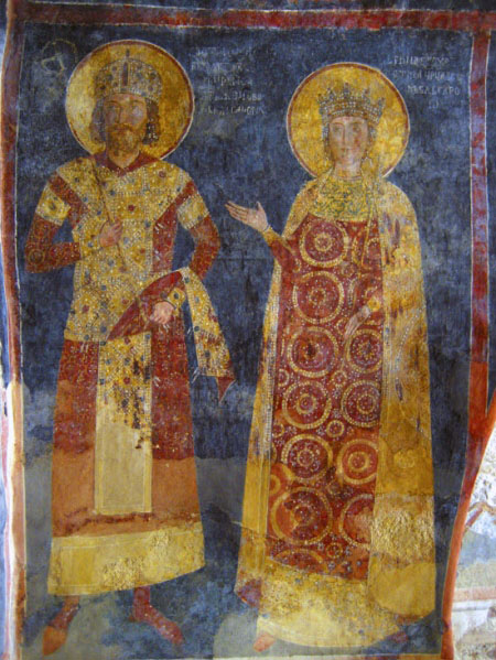 Fresco from the Boyana Church depicting Emperor Constantine Tikh Asen. The murals are among the finest achievements of the Bulgarian culture in the 13th century. Konstantin i Irina.jpg