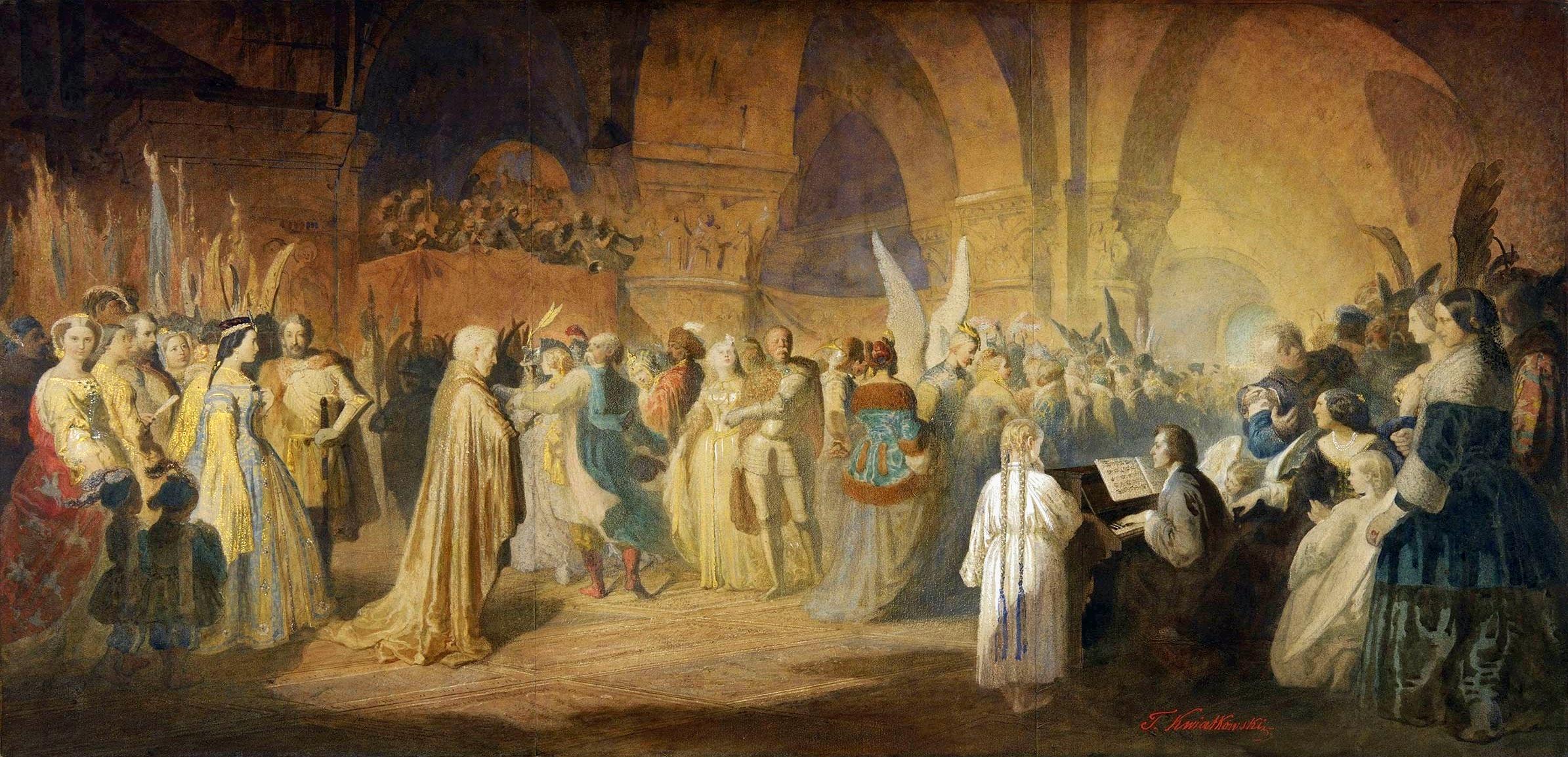 Polonesa de Chopin - un baile en el Hôtel Lambert de París, aguada y gouache, 1849-1860, pintado por Teofil Kwiatkowski, Museo Nacional de Poznań.