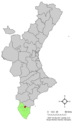 Location Catral on the Valencian Community