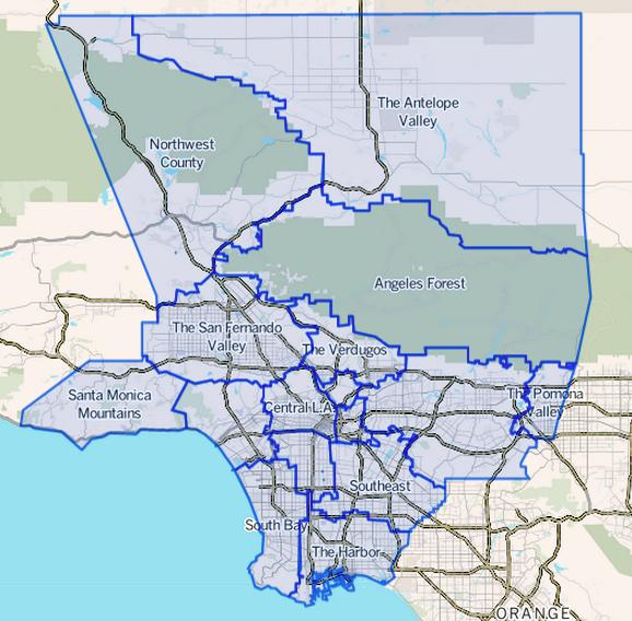 Los Angeles County City Borders Map
