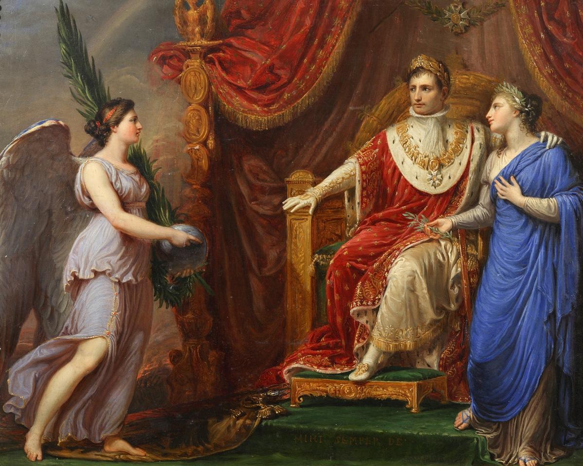 Наполеон на троне с аллегорическими фигурами мира и победы Андреа Аппиани.jpg