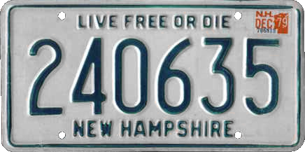 The slogan on New Hampshire license plates is 'Live Free or Die'. These license plates are manufactured by prisoners in the state prison in Concord