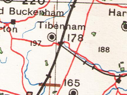 A map from 20th Century Ordnance Survey showing Tibenham. OS MAP OF TIBENHAM.png