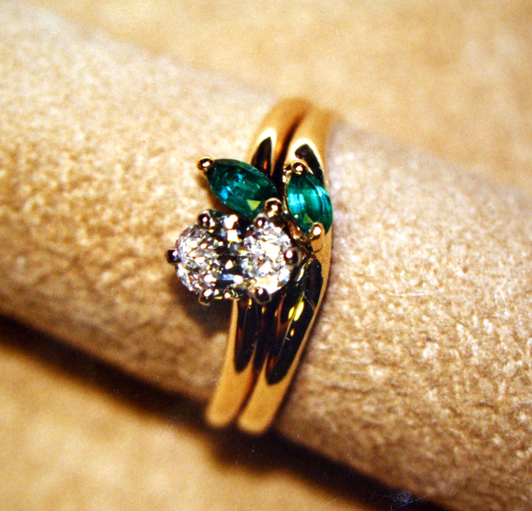 Diamond Marquise Engagement Ring And Wedding Band Set