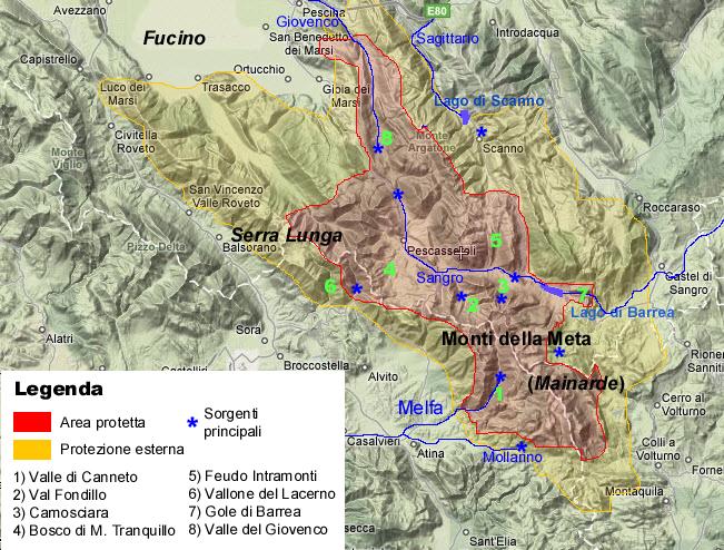 Kart over Parco Nazionale dAbruzzo, Lazio e Molise