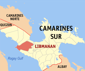 Map of Camarines Sur showing the location of Libmanan