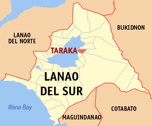 Map of Lanao del Sur showing the location of Taraka