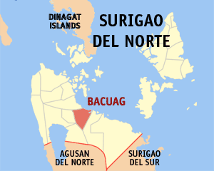 Map of Surigao del Norte showing the location of Bacuag