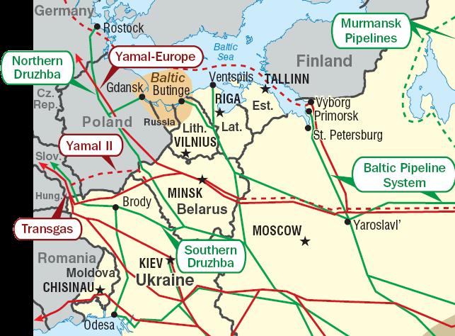 Нефтепровод Одесса-Броды на карте трубопроводов.
