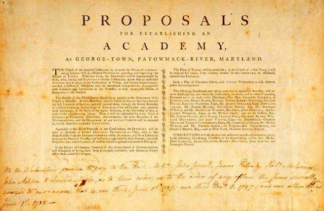 Proposal to establish George-Town Academy (Georgetown University) - 1787.jpg
