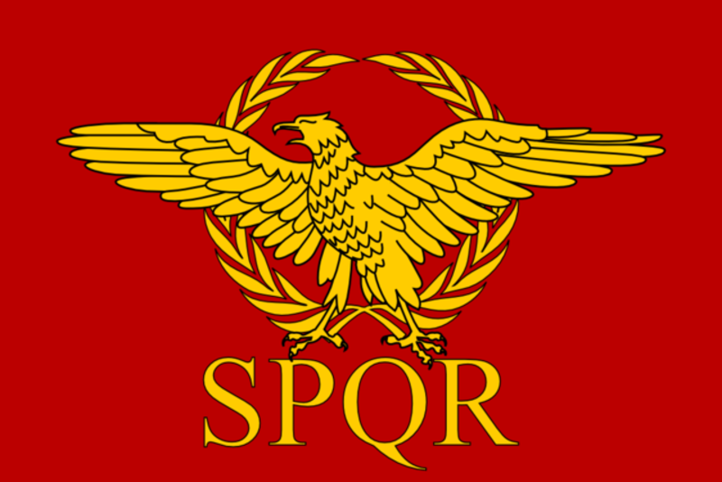 Red background with an Imperial eagle surrounded by a laurel wreath with SPQR written bellow it.