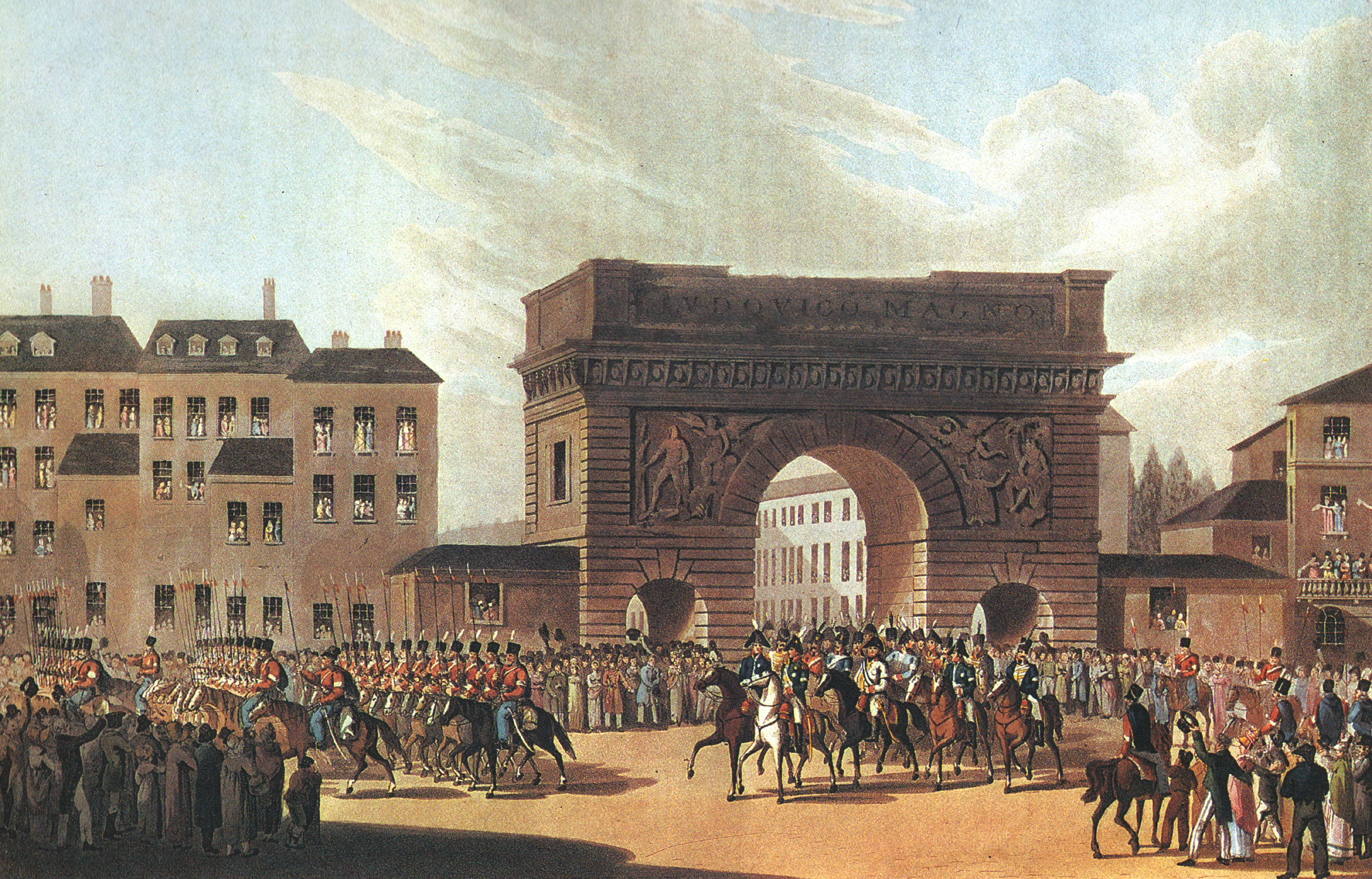 Russian army enters Paris in 1814.