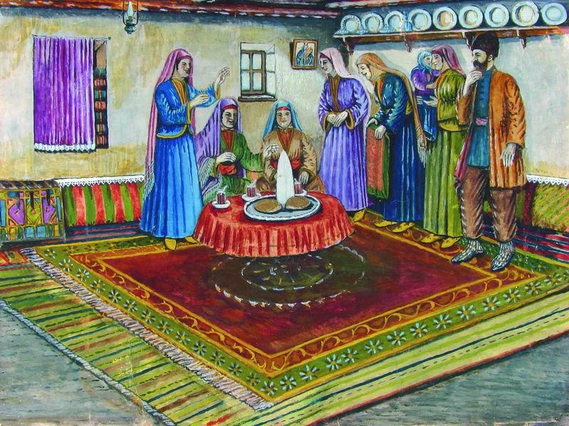 Shalom Koboshvili. Sugar and bread Engagement. gouache on paper. 30.5 × 40cm.jpg