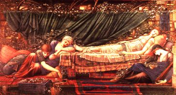 Sleeping Beauty and the palace dwellers under a century-long sleep enchantment (The Sleeping Beauty by Sir Edward Burne-Jones). Sleeping beauty by Edward Burne-Jones.jpg