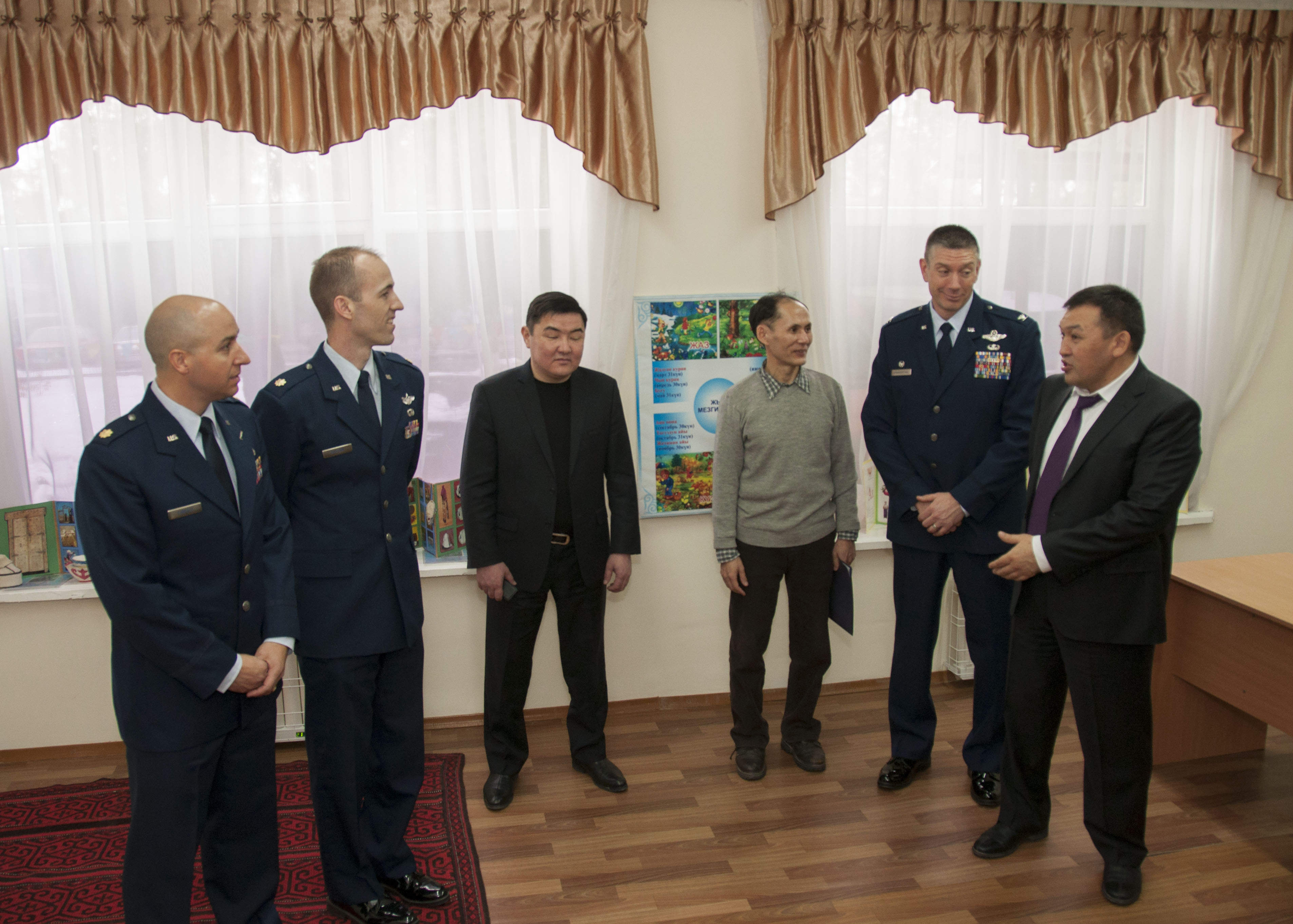 the Kyrgyz Republic government on a humanitarian assistance project to renovate the school building with new windows, floors and lighting in each classroom