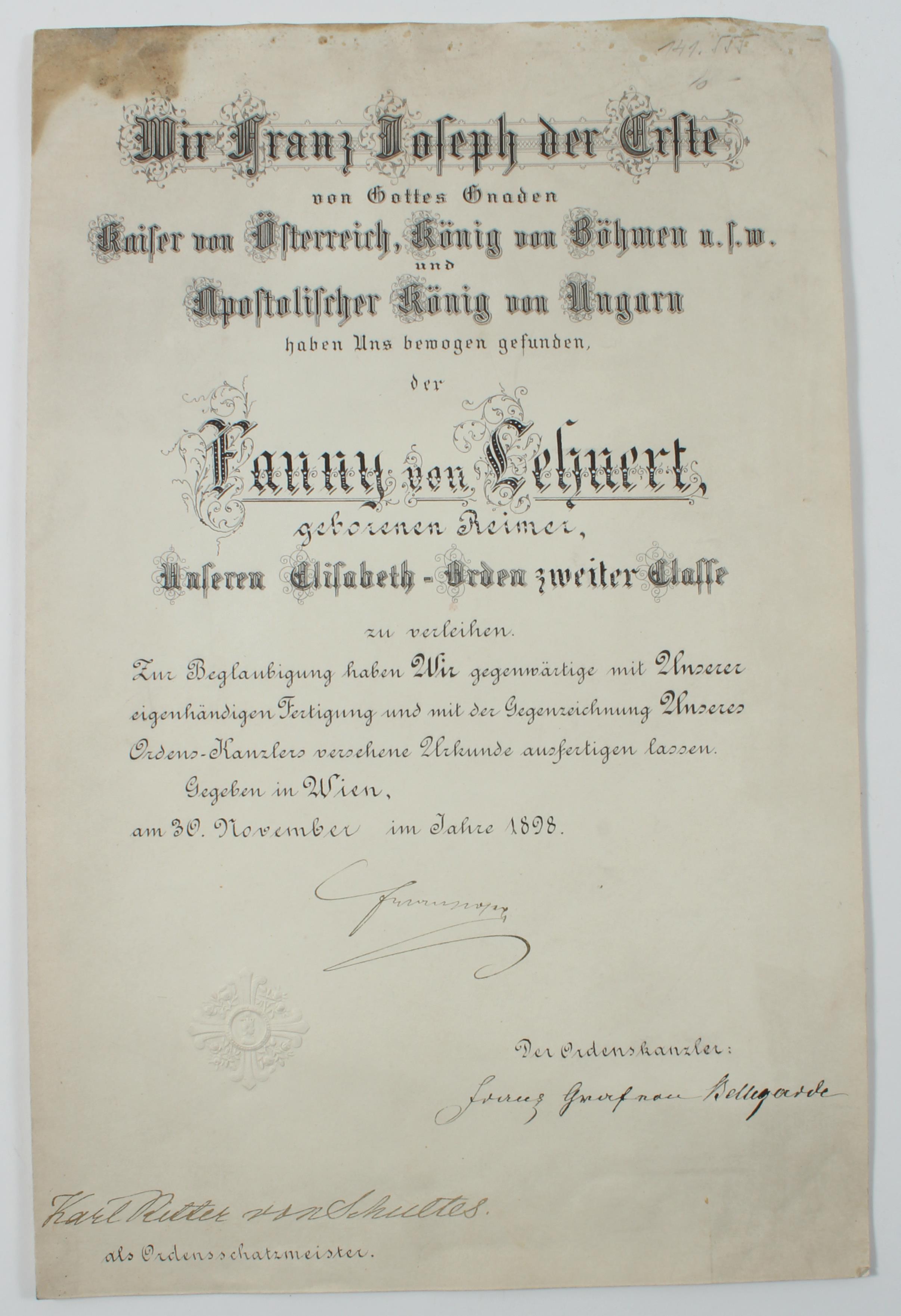 File:Verleihungsurkunde zum Elisabeth-Orden Fanny Lehnert 1898.jpg ...