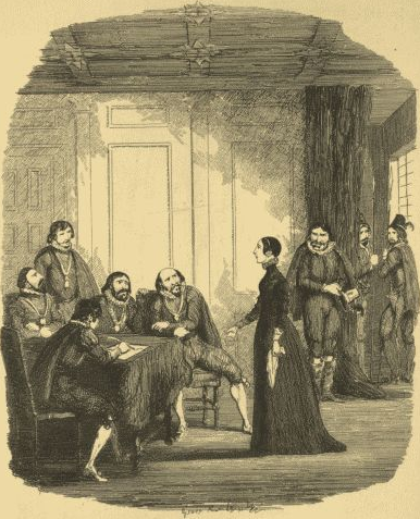 Viviana Radcliffe examined by the Earl of Salisbury and the Privy Council in the Star Chamber. Illustration by George Cruikshank from William Harrison Ainsworth's novel Guy Fawkes. Viviana examined by the Earl of Salisbury, and the Privy Council in the Star Chamber.png