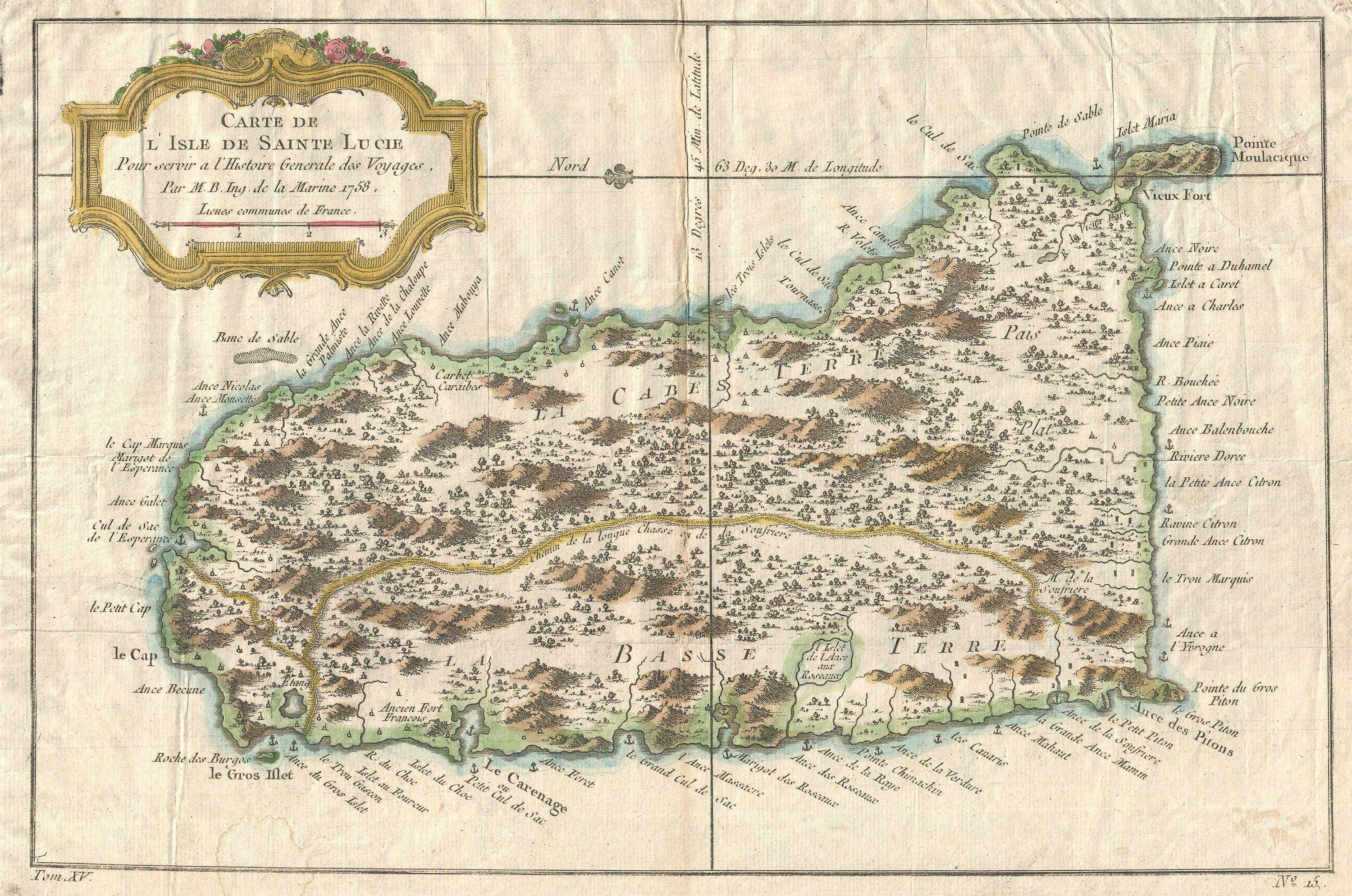 File:1758 Bellin Map of St. Lucia ( St. Lucie ), in the West ...