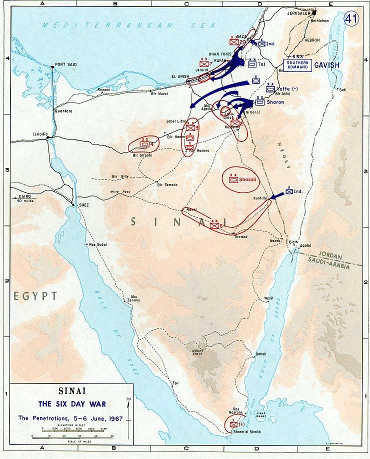 Mapa de la Guerra de los Seis Días en el Sinaí (clic para ampliar)