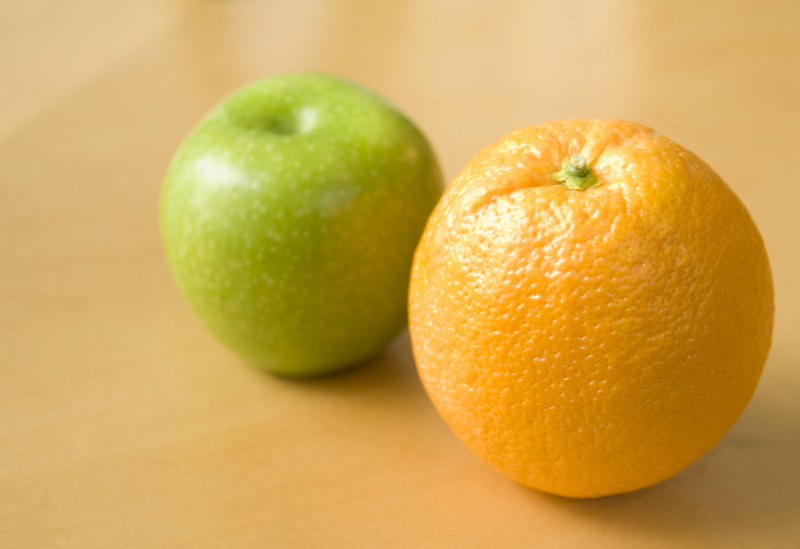 Apples and Oranges, http://upload.wikimedia.org/wikipedia/commons/a/a8/Apple_and_Orange_-_they_do_not_compare.jpg