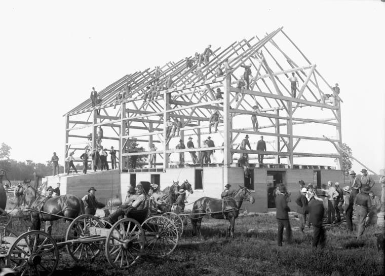 Barn raising - Leckie's barn completed in frame.jpg
