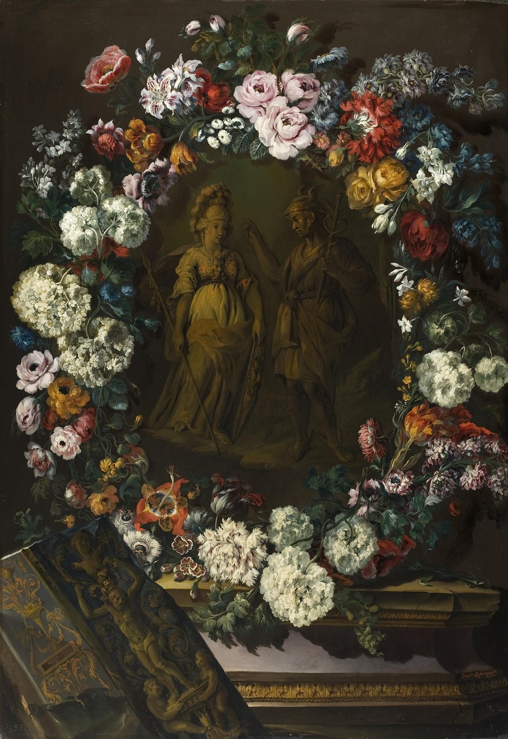 Resultado de imagen de mercurio y minerva guirnalda con flores