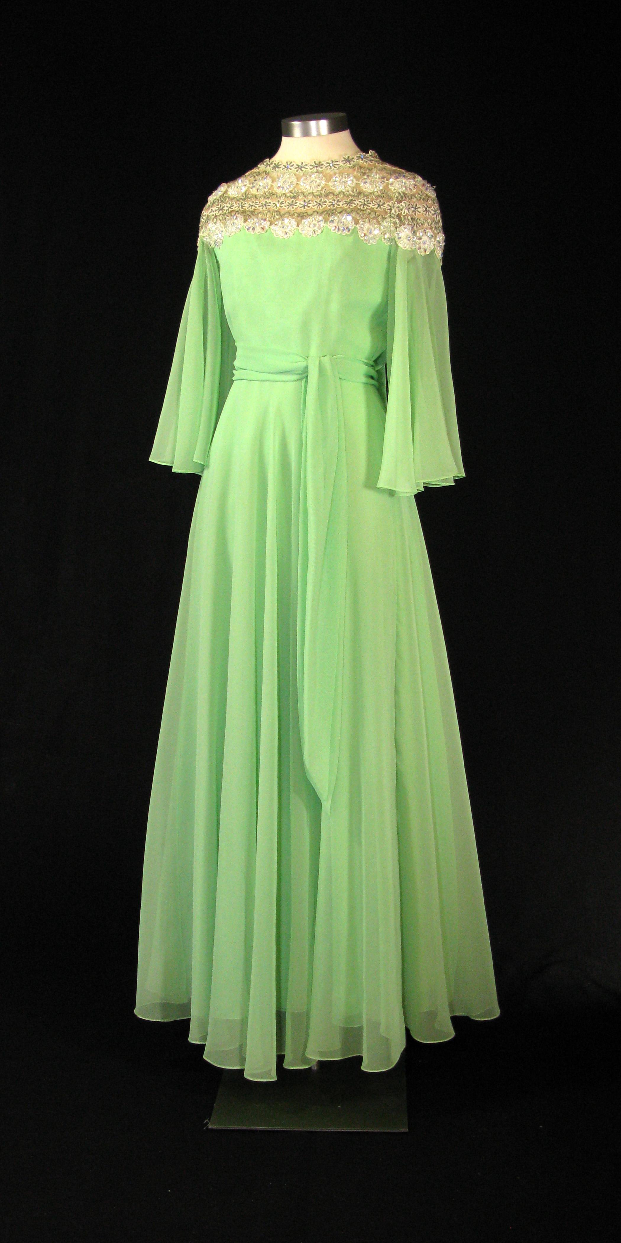 gree chiffon floorlenght dress