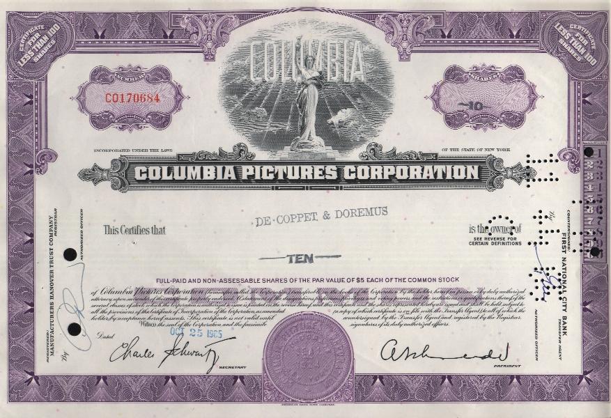 [[Stock certificate