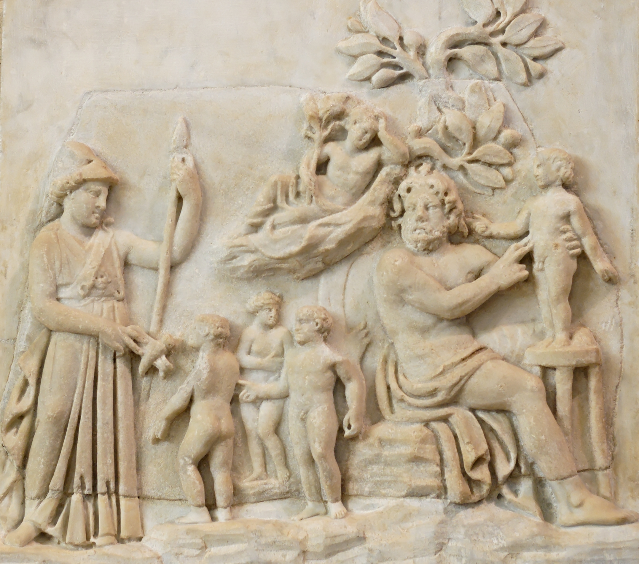 Roman-era relief showing Prometheus creating humanity under the watchful eye of Athena