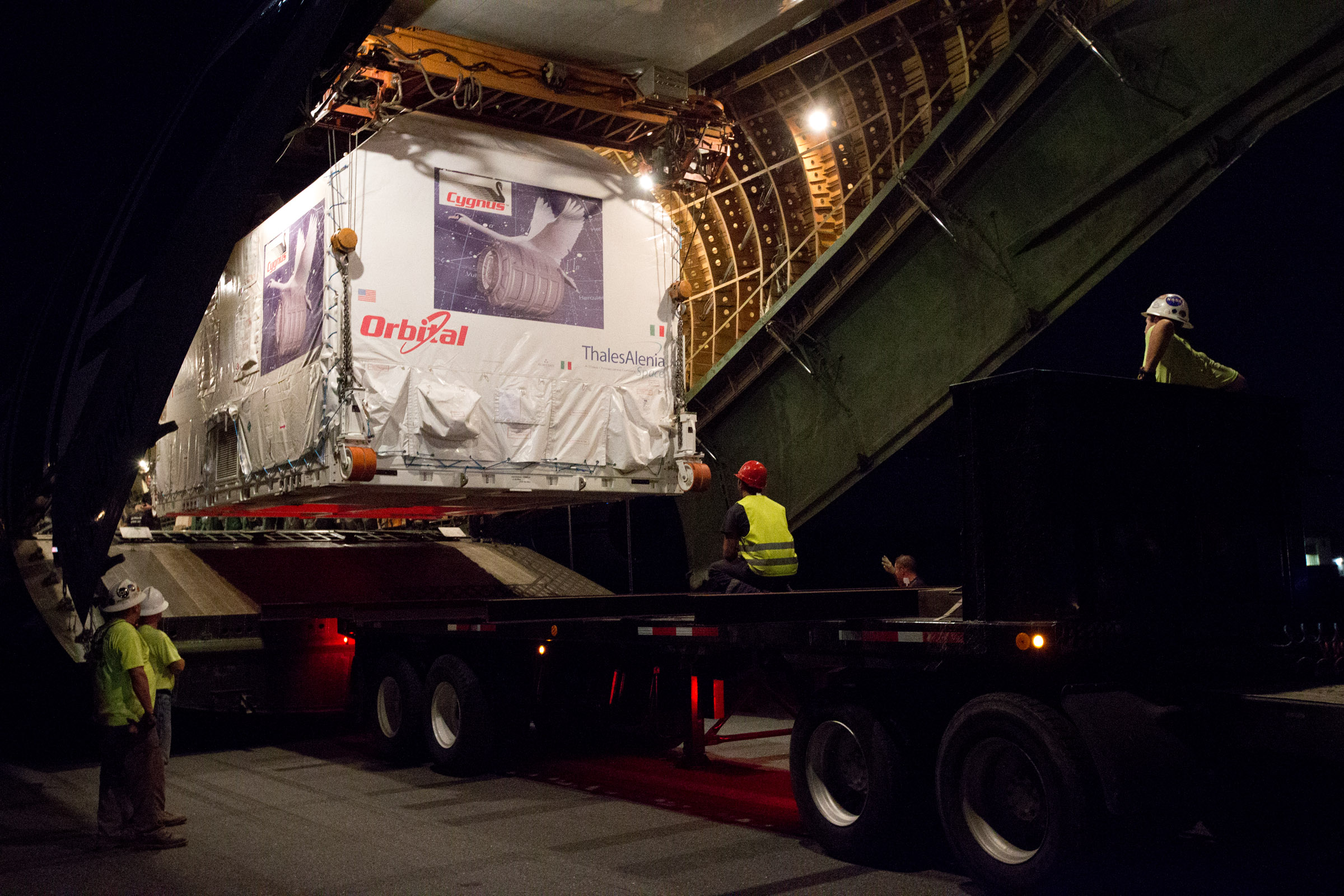 Cygnus PCM-2 arrives at Wallops.jpg English: The second Pressurized Cargo Module (PCM) for Orbital's Cygnus spacecraft arrived just before 8