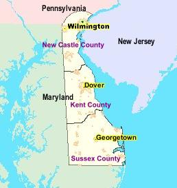 An enlargeable map of the 3 counties of the state of Delaware