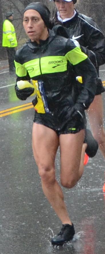 Des Linden near halfway point of Boston Marathon 2018 in which she got first place.